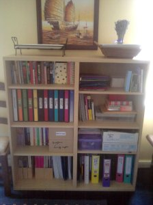 My re-vamped spangly teaching shelves